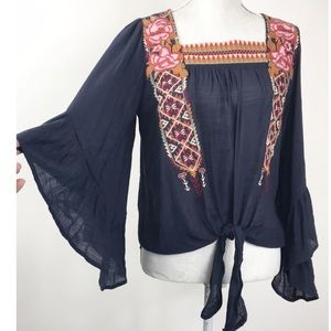 Entro Embroidered Tie Front Bell Sleeves Top S